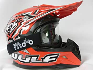 Amazon.es: Cascos niños moto WULF SPORT FLITE XTRA niños Casco de motocross MX ATV-QUAD Off road scooter Casco, color rojo con gafas Small rojo