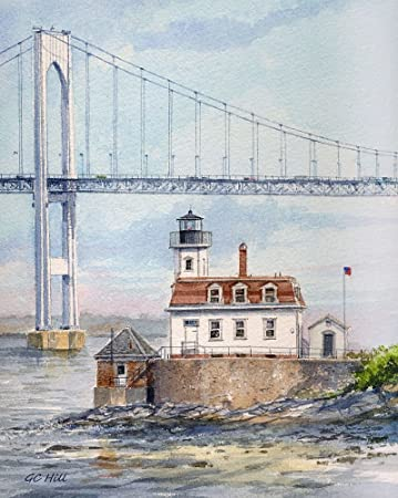 Rose Island Lighthouse Newport Harbor Rhode Island Matted Watercolor Art Prints