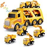 TEMI Construction Vehicles Transport Truck Carrier Toy - with Excavator Mixer Crane Dump, Real Siren Brake Sounds…