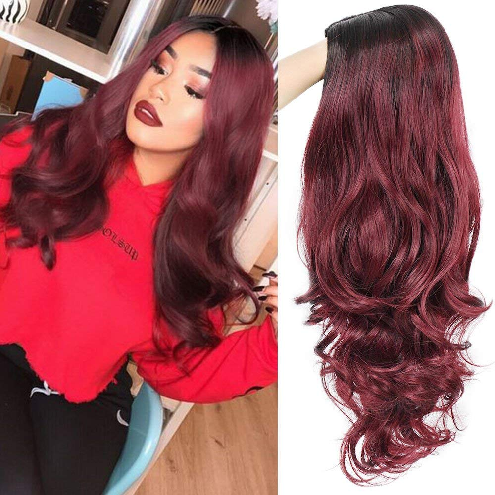 AISI QUEENS Ombre Wigs for Women Long Curly Wig Black to Red Wavy Synthetic Party Wigs Burgundy Middle Part Full Wigs Heat Resistant Fiber Halloween Cosplay Wigs (20 Inches)