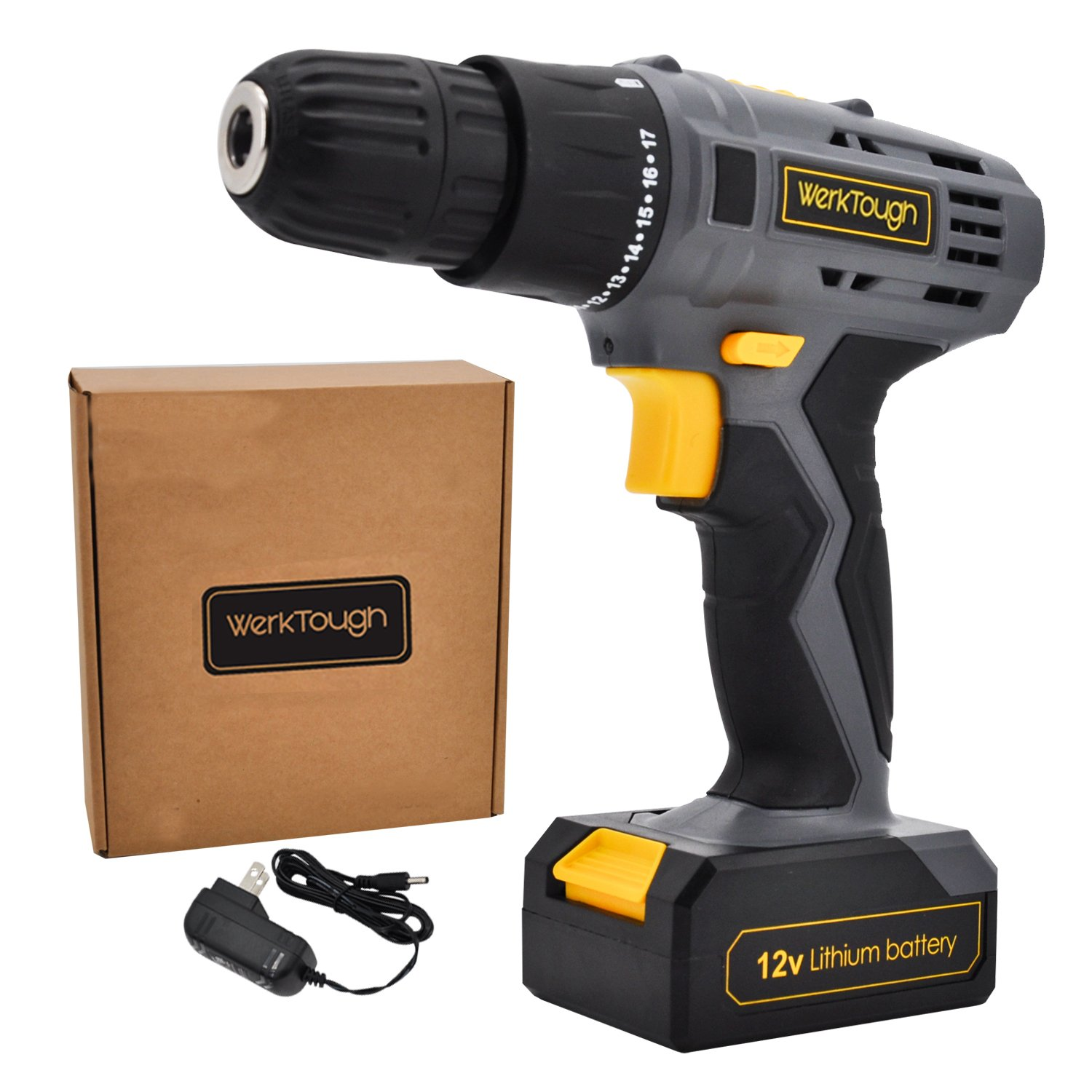 Werktough D018 12V Cordless Drill Driver Powerful Screwdriver Lion Battery