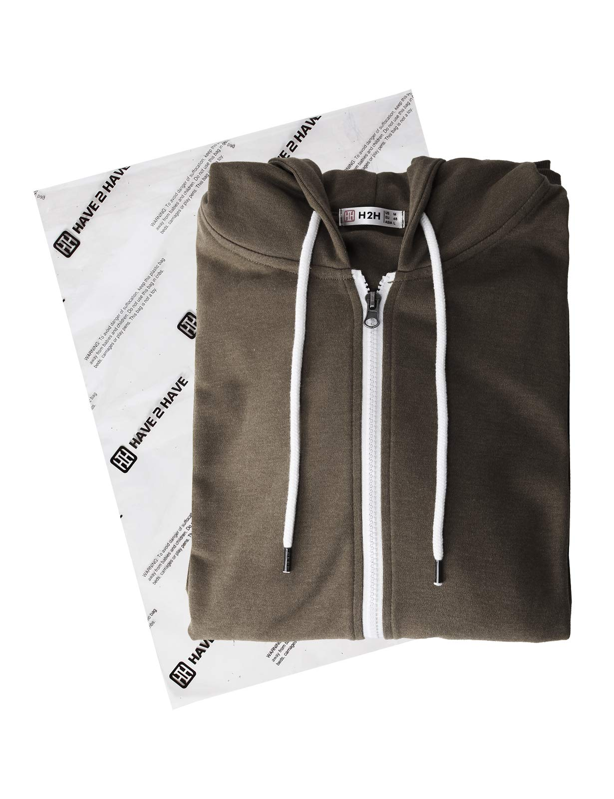 H2H Mens Casual Zip up Hoodie Basic Long Sleeve Zip up HEATHERBROWN US 2XL/Asia 3XL (CMOHOL048) by H2H (Image #6)