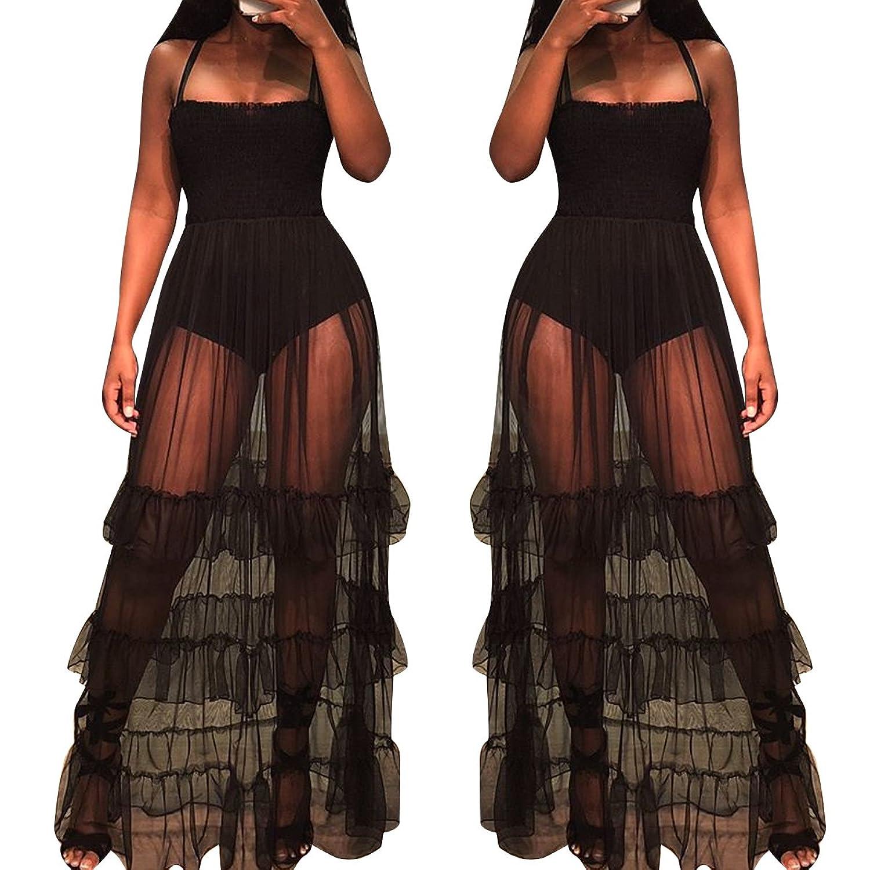 fe389af949 Features: spaghetti strap,sleeveless,bodycon bodysuit,mesh  patchwork,ruffle,empire,sheer see through, elastic top mesh semi long skirt  bodysuit maxi dresses