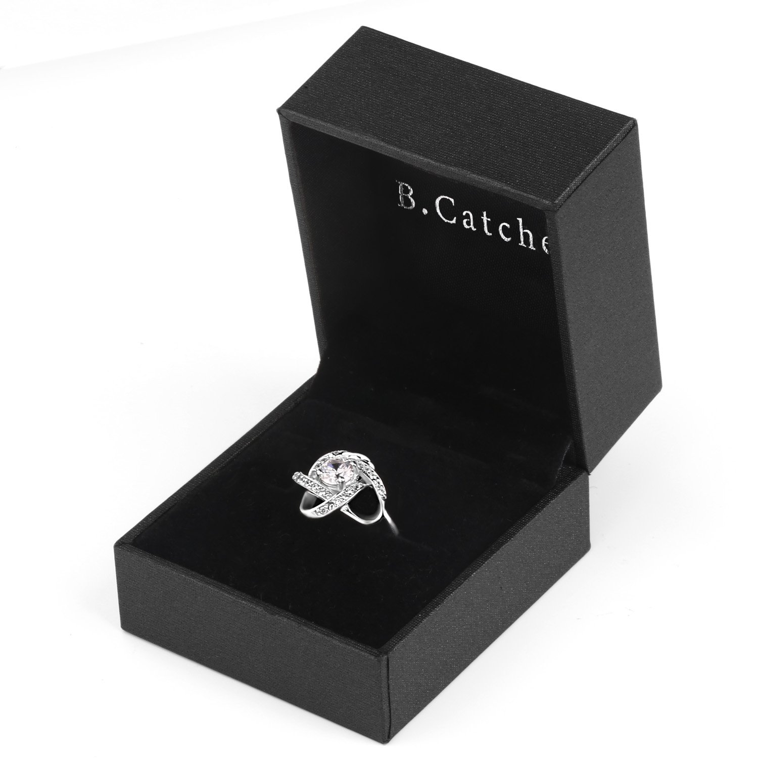 B.Catcher Women's Ring Adjustable 925 Sterling Silver Cubic Zirconia Valentine's Gift for Her by B.Catcher (Image #6)