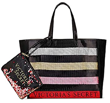 f7f91eed477 Amazon.com: Victoria's Secret Bling Stripe Sequin Carryall Tote W Mini Bag  Set Black/Red: gooddaytdt