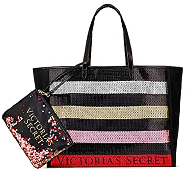 Amazon Com Victoria S Secret Bling Stripe Sequin Carryall Tote W