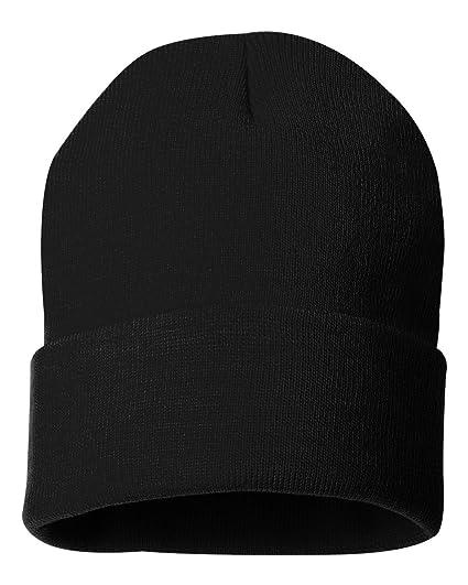 c76f12bd1f116 Amazon.com  Sportsman - 12 Inch Solid Knit Beanie - SP12 - Black ...