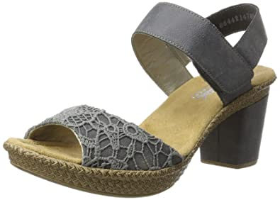 f05e6290e624 Rieker Damen 66561 Sandalen mit Absatz  Amazon.de  Schuhe   Handtaschen