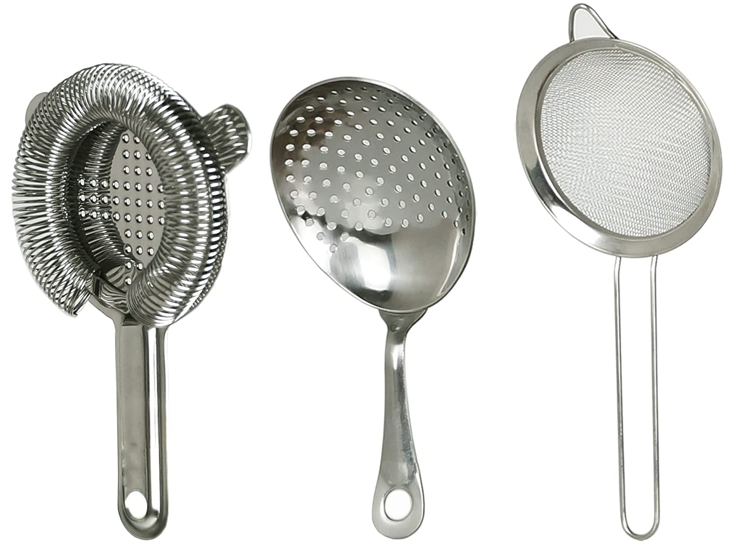 Jillmo 3-Piece Stainless Steel Cocktail Strainer Set (Hawthorn Strainer, Julep Strainer, Sifter. )