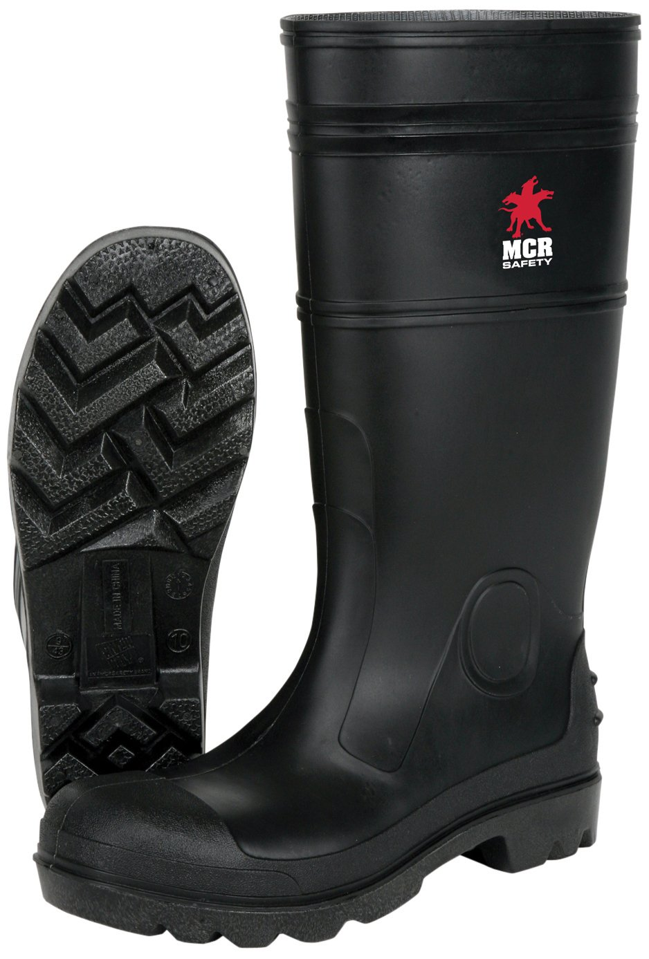 8f235e4070f MCR Safety PBS12011 Waterproof PVC Men's Knee Boot with Steel Toe, Black,  Size 11, 1-Pair