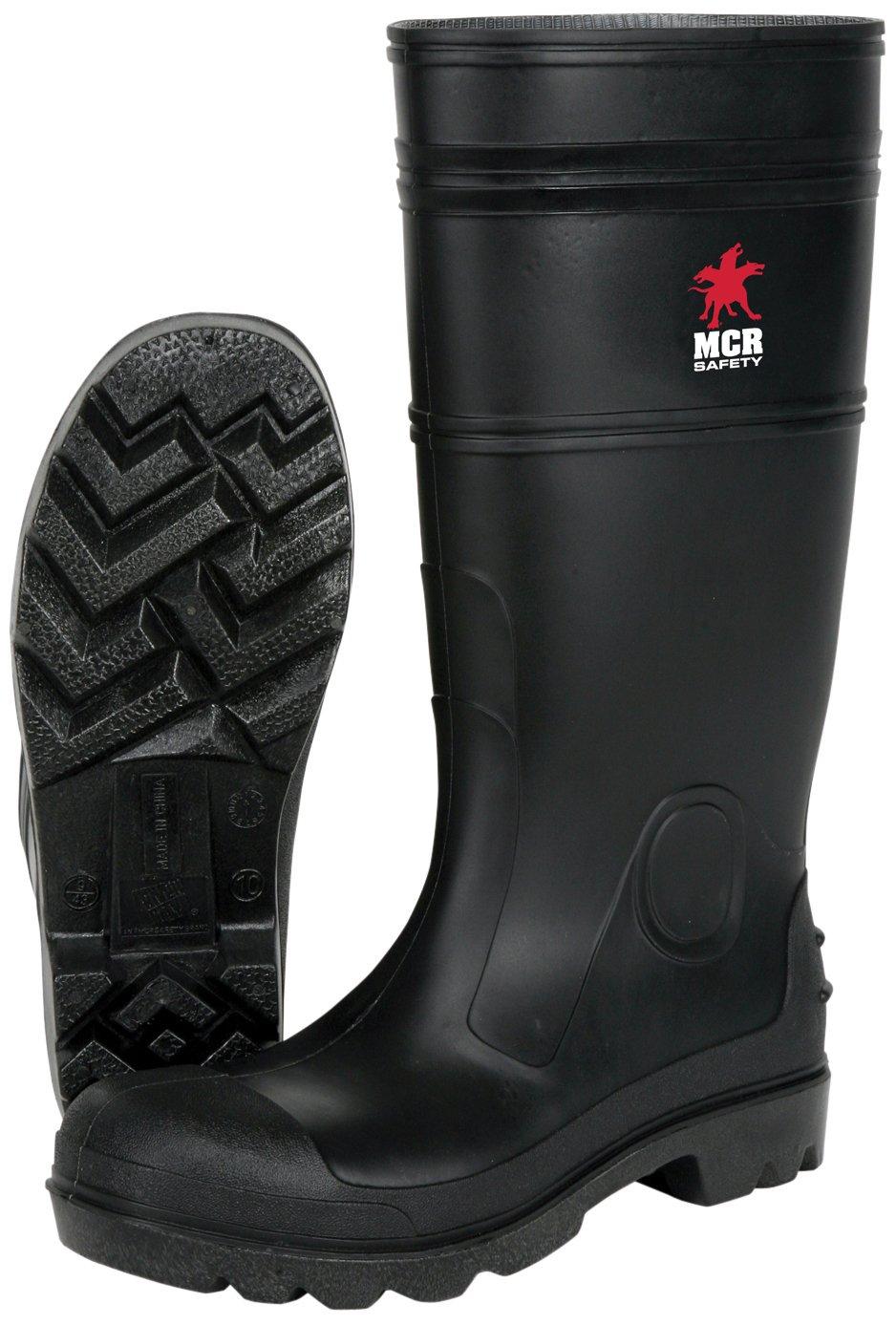 MCR Safety PBS12011 Waterproof PVC Men's Knee Boot with Steel Toe, Black, Size 11, 1-Pair