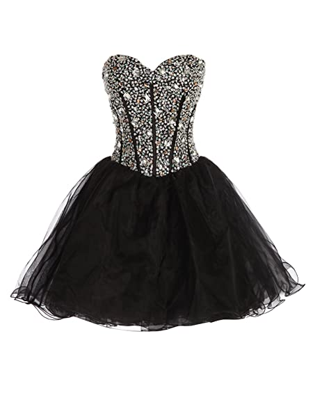 Strapless Short Prom Dresses for Women Black Size 8 CL3520-2