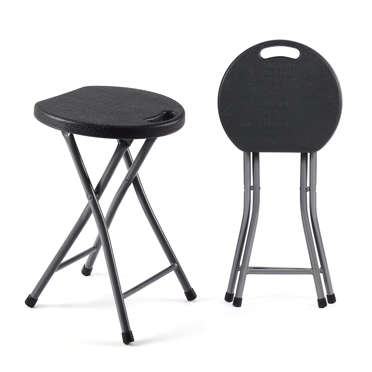 TAVR Folding Stool Set of Two 18.1 inch Height Light Weight Metal and Plastic Folding Stool 400lb Capacity Indoor/Outdoor Use,2-Pack Black,CH1001
