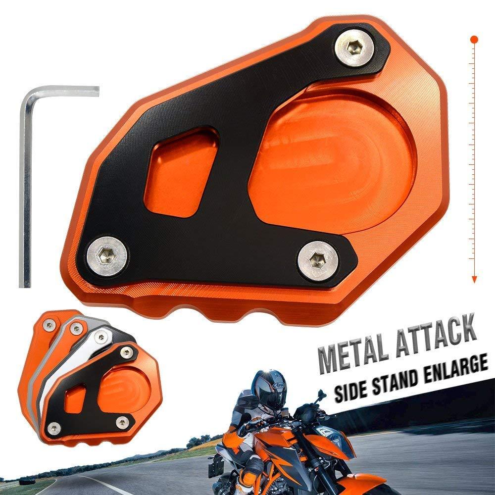 motorcycle kickstand side stand enlarger extension enlarger pate pad For KTM 1090 Adventure 2017 2018 1190 Adventure 2015 2016 1050 Adventure 1290 Super Adventure 2015-2018 (Orange - Black)