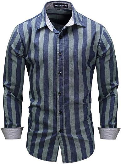 VLUNT Camisa Vaquera de Hombre Camisa de Algodón Solapa a Rayas: Amazon.es: Ropa y accesorios
