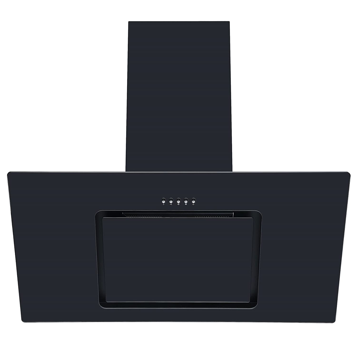 Cookology VER901BK 90cm Black Angled Glass Chimney Cooker Hood Kitchen Extractor [Energy Class C]