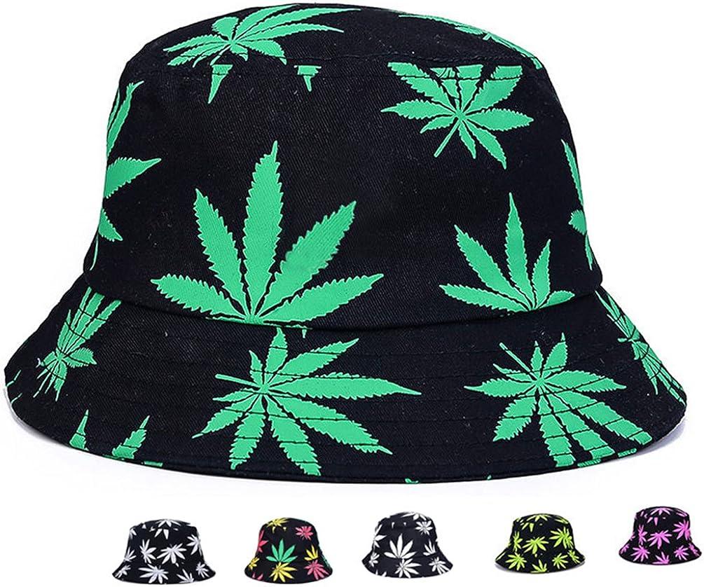 Bucket Hat Unisex Sun Uv Protection Wide Brim Flat Sport Cap Hat for Outdoor Running Travel Marijuana Weed Fishing Hat