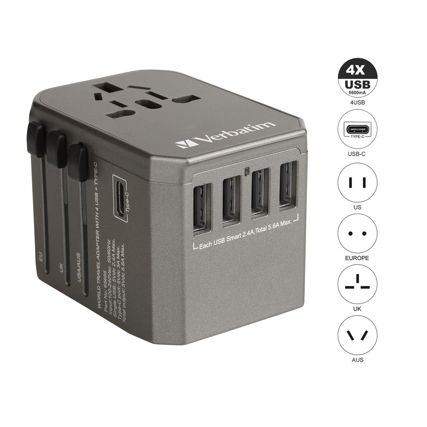 World Travel Power Adapter, All in one International Wall Charger AC Plug Adapter for USA EU UK AUS iPhone iPad Android Samsung and More(Grey)
