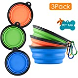MXZONE 3 Collapsible Silicone Dog Bowl, Foldable Expandable Cup Dish for Small Pet Cat Food Water Feeding Portable…