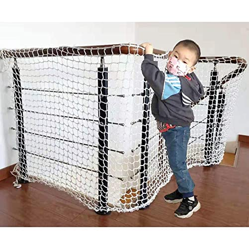 Child Safety Railing Net Baby Stair Balcony Rail Protector Baby Safety Banister Guard Pet Toy Anti-Fall Net Sturdy Polyester White Mesh 1M x 5M 1 Pack
