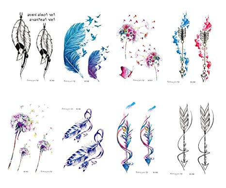 Freesiom Kit De 10 Feuilles Tatouage Ephemere Temporaire Femme Fleur