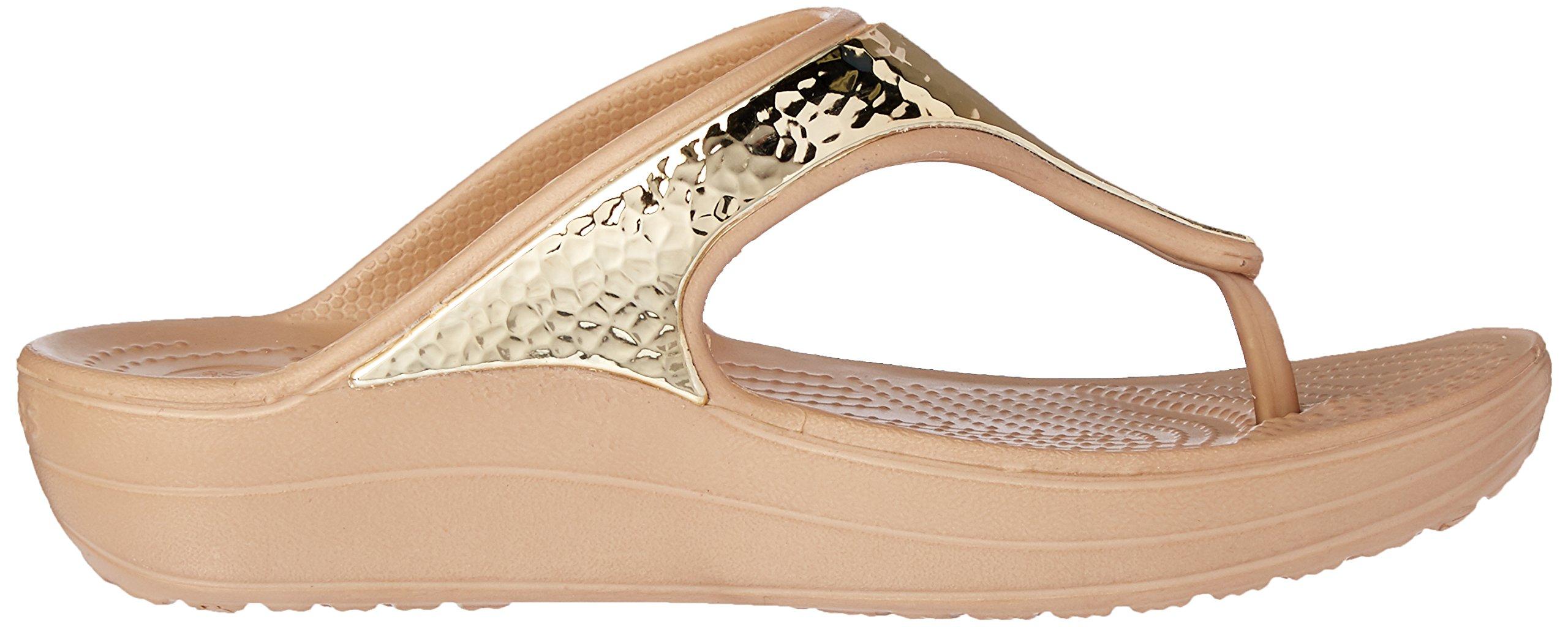 New Crocs Women/'s Sloane Embellished Flip Sandal 10 Gold Metallic 204181-797