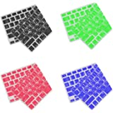 Lovoski 【4枚セット】MacBook Pro 13 / 15インチ用 韓国語 キーボードカバー キーボードプロテクター 黒+赤+青+緑