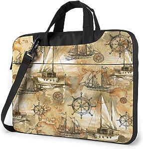 Laptop Messenger Vintage Sailboats Pirates Shoulder Bag Briefcase Office Laptop Sleeve Case Luggage for Men Women 14 Inch