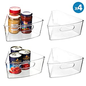 "Lazy Susan Organizer, Set of 4 Clear Transparent 10.3"" x 9.5"" x 4"" Plastic Corner Kitchen Cabinet Storage Bins, 1/8 Wedge, 4"" Deep Container - Food Safe, BPA Free"