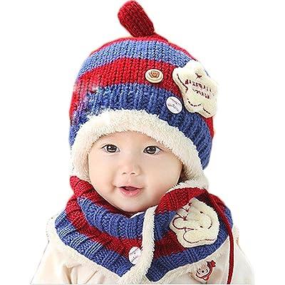 15628c1ede2 Unisex Baby Girls Boys Winter Hat Scarf Crochet Earflap Hood Scarves Skull  Caps