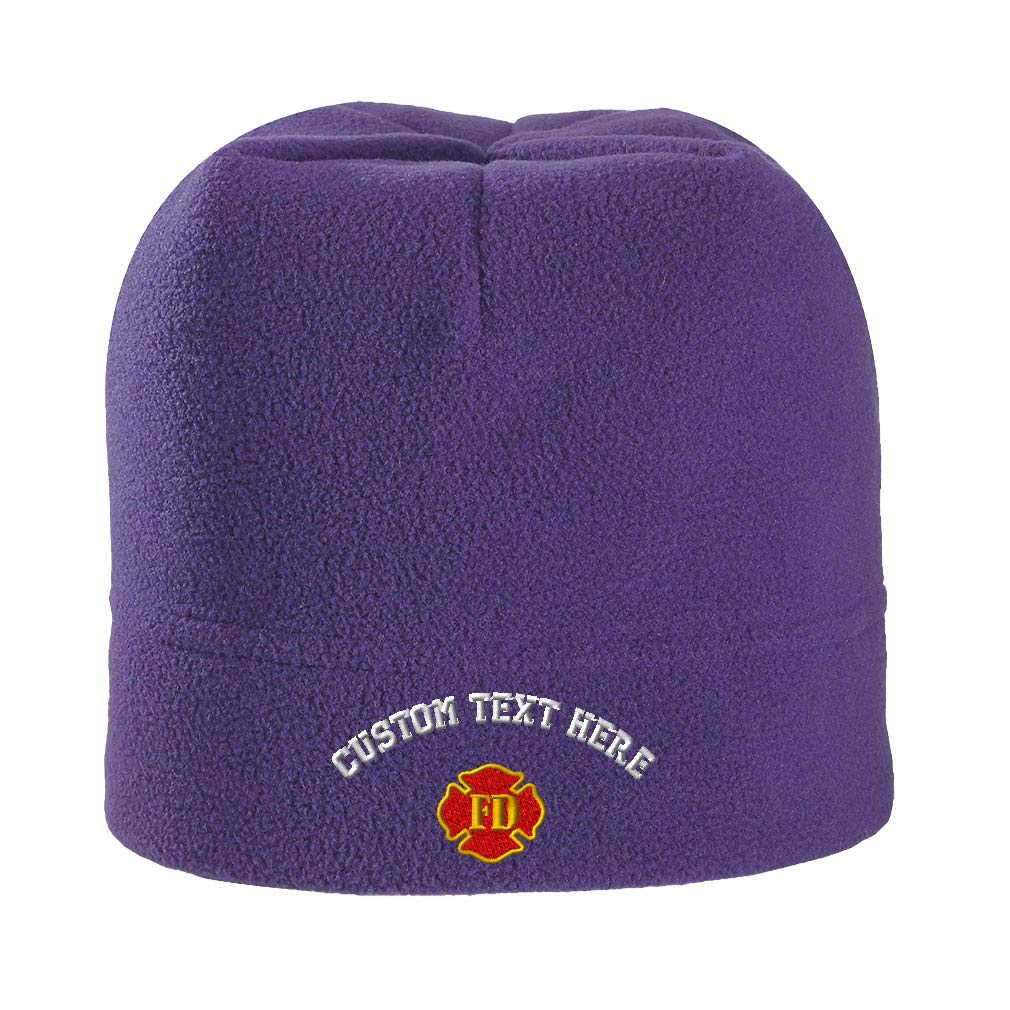 Amazon.com  Custom Text Embroidered Fd Fire Department Unisex Adult  Polyester Spandex Stretch Fleece Beanie Skully Hat - Black 605eb94fd85