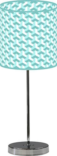 LampPix 10 Inch Custom Printed Table Desk Lamp Shade Baus Aqua White. Includes Decorative Chrome 15 Inch Stand