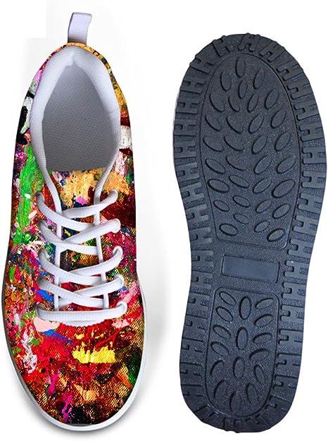 Santiro 3D Printed Stylish Girls Vintage Floral Rose Print,Colorful Floral Print Comfortable Athletic Fitness Walking Sneaker