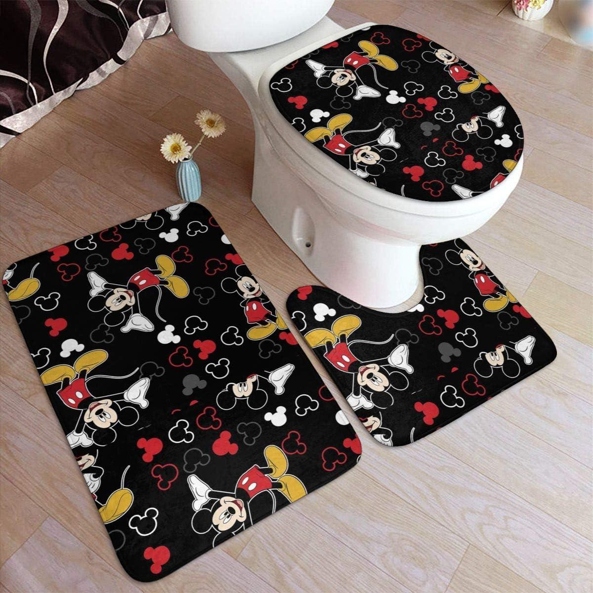 Amazon Com 3 Pack Bath Mat Set Mickey Mouse Black Non Slip Bathroom Rug Set U Shaped Contour Mat And Lid Cover Kitchen Dining
