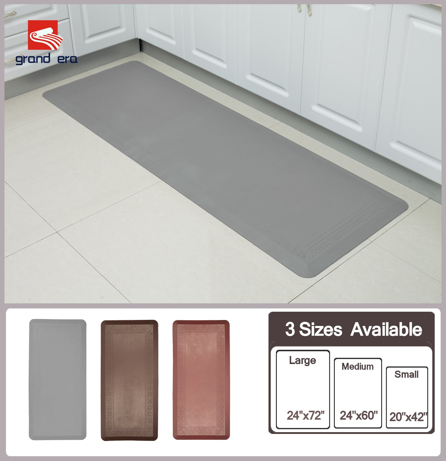 Grand Era Anti-Fatigue Comfort Mat Multi Surface All-Purpose Luxurious Comfort - for Kitchen, Bathroom or Workstations, 24'' x 60'', Gray by GRAND ERA