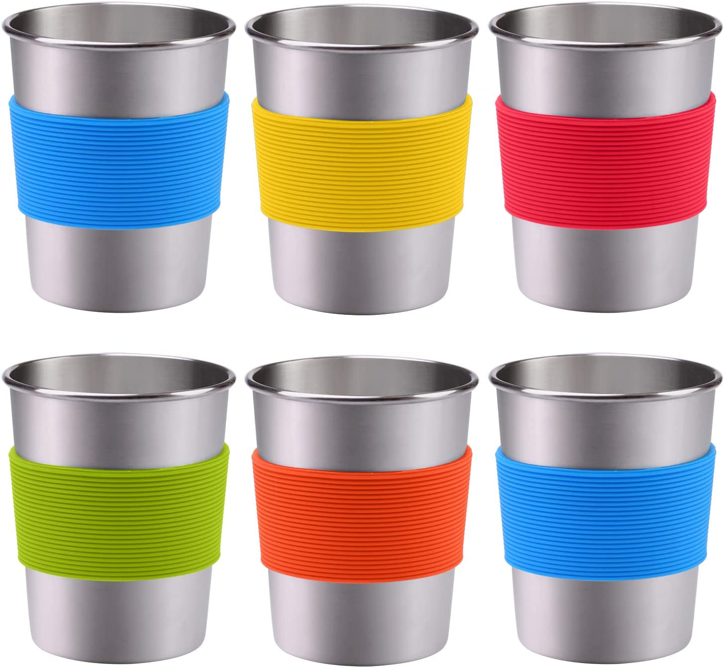 Ruisita 6 Pack 8 oz Stainless Steel Cups with Silicone Sleeve Metal Pint Tumbler Unbreakable Drinking Cups for Kids and Adults (6, 8 oz)