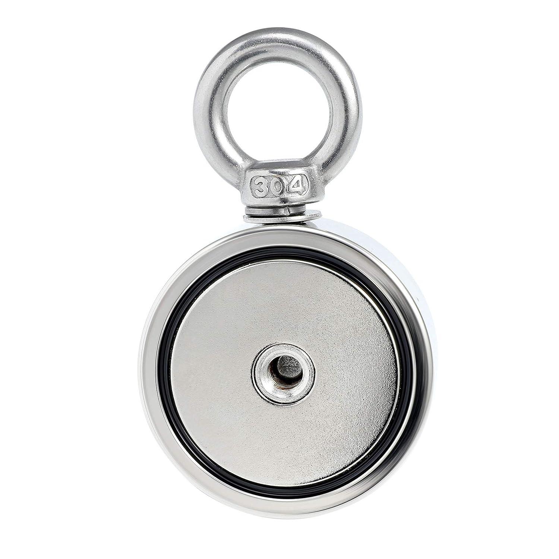 Valens Magnete al Neodimio Magnete da Pesca con Golfare al Neodimio 75MM Doppia Faccia Kit Rilevatore di Magneti Metallici con Corda da 10m// 33ft 500KG