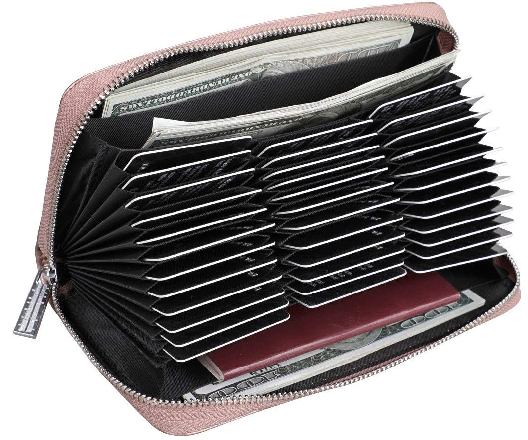 Easyoulife Womens Genuine Leather Credit Card Holder Wallet RFID Secure 36 Slots (36 Card Slots - Rose Gold)