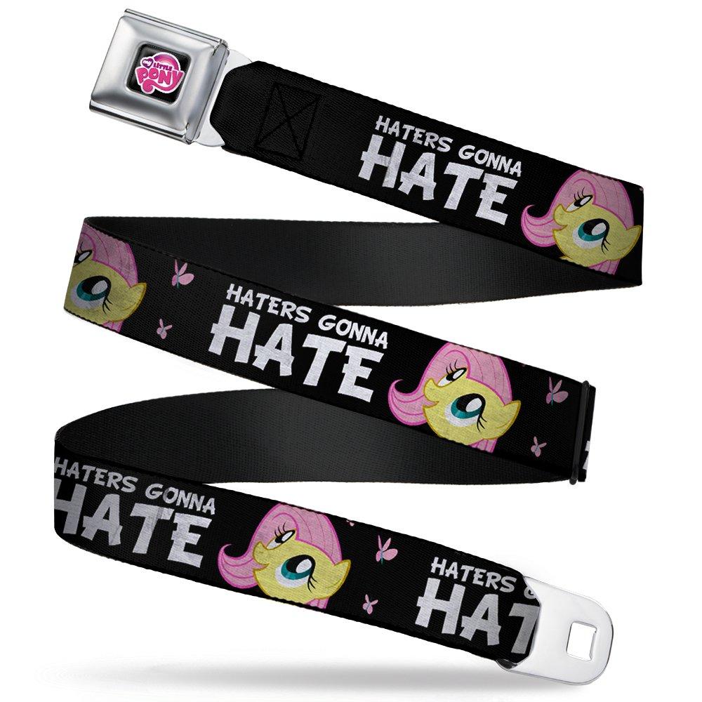 Buckle-Down Seatbelt Belt - Fluttershy C/U HATERS GONNA HATE Black/Pink - 1.5' Wide - 24-38 Inches in Length Buckle-Down - Parent Vendor Code MLPD-WMLP033