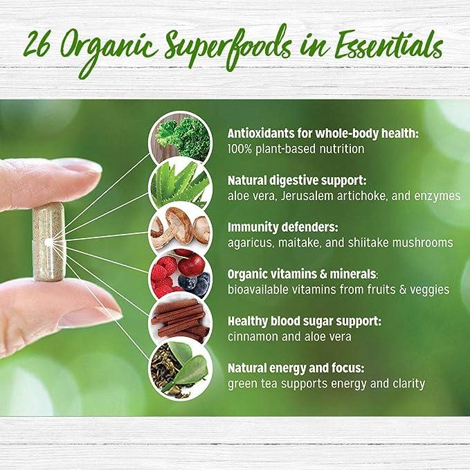 Essentials Vitaminas y Minerales de Alimentos Orgánicos Integrales – 26 Súper Alimentos Frutas y Vegetales Orgánicos para una Nutrición Completa ...