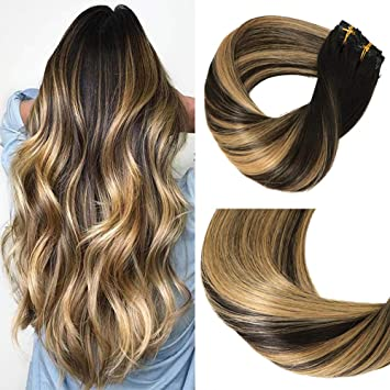 Big Sale Huayi Clip In Hair Extensions Human Hair Caramel Highlights On Black And Natural Black Hair 120g