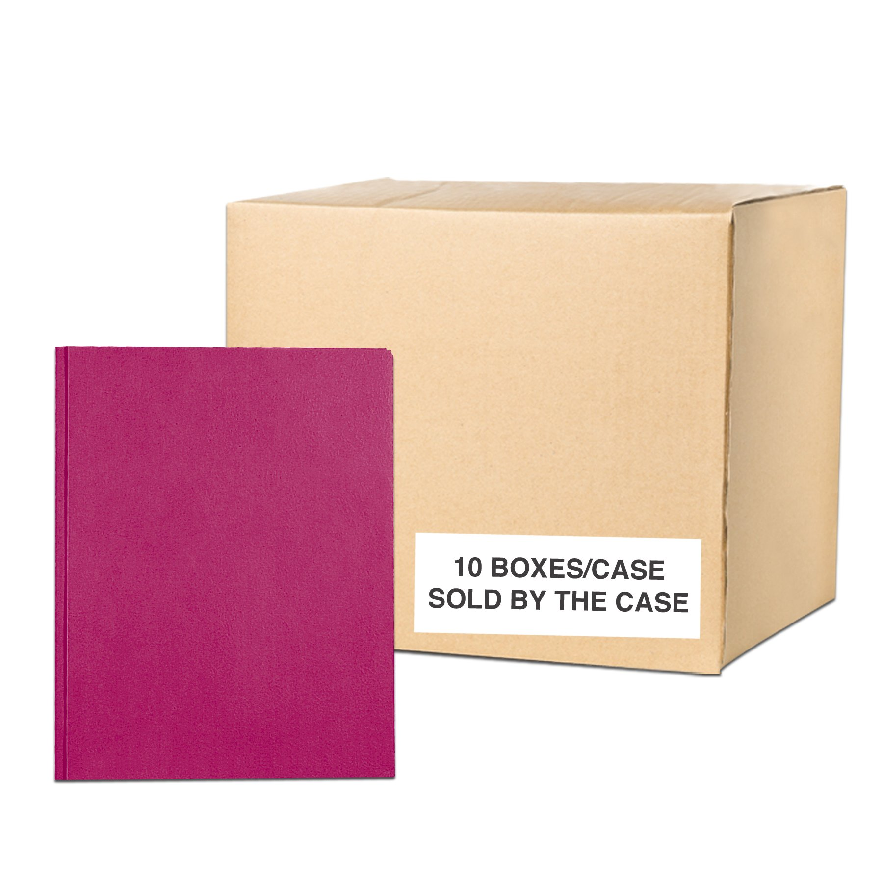 Case of 10 Boxes of Pocket Folders with Prongs, 11.75''x9.5'', Twin Pockets hold 25 sheets each, 11 pt tag board, 25/box, Maroon Color