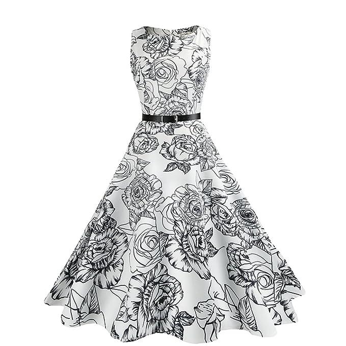 Jitong Vintage Swing Vestidos de Flores para Mujer A-Línea Cuello Redondo Plisado Vestido Estampado