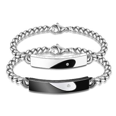 Inoxydable Acier Coeur Pour Couple Besteel Hommes Bracelets 2pcs 7fybg6