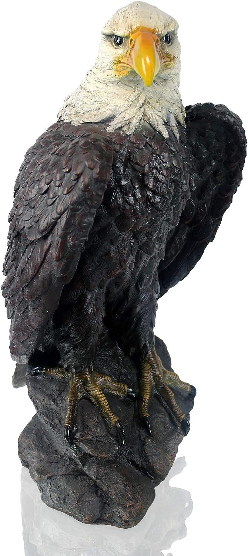 Adler auf Felsen 62 cm Weißkopfseeadler Gartenfigur Skulptur Statur Gartendeko