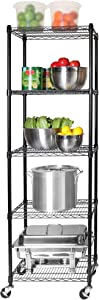 "Seville Classics UltraDurable Commercial-Grade 5-Tier NSF-Certified Steel Wire Shelving with Wheels, 24"" W x 18"" D, Black"