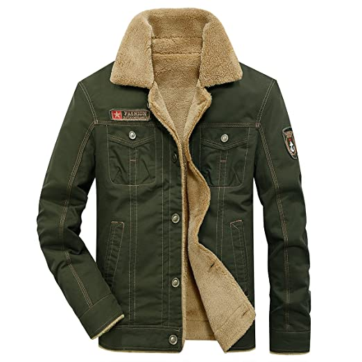 e876fb66f ReFire Gear Men's Winter Warm Wool Lining Military Jacket Casual Cotton  Bomber Coat Outerwear Parka with Fur Collar