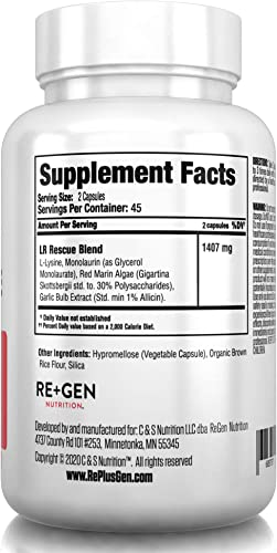 LYSINE Rescue- L Lysine Supplement, Monolaurin, Red Marine Algae, Allicin, All Natural Immune Support 1400mg 90 Capsules