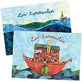 2er Set Glückwunschkarten zur Konfirmation mit Umschlägen, Glückwunsch, Danksagung, Klappkarten, Kommunionkarten, Boot, Schiff, Wal, Arche, Wasser, edel, christlich