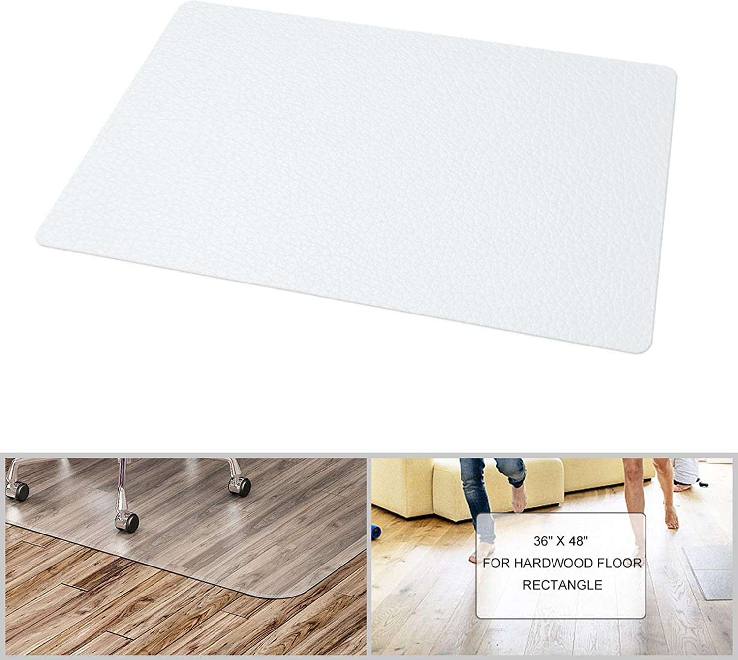 "FRUITEAM Rectangle Office Chair Mat - 36"" x 48"" for Hard Floors, Transparent Hard Floor Protector with Non-Studded Bottom, BPA and Phthalate Free"